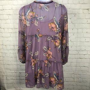 Xhilaration Dresses - Trendy Floral Lilac Chiffon Tiered Swing Dress